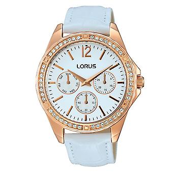Lorus Ladies Rose Gold Multidial läderrem klocka (modell nr RP640CX9)