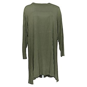 Lisa Rinna Collectie Dames's Plus Top Long Sleeve TuniekGroen A372096