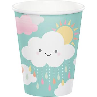Cloud & Sunshine Baby Shower Paper Party Cups x 8
