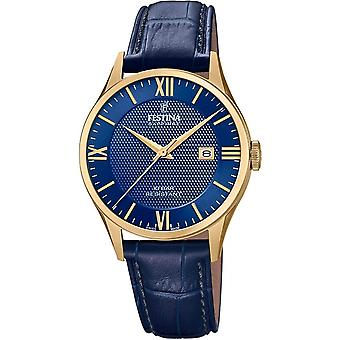 Festina Swiss F20010-3 Men's Gold Tone Case Blue Leather Wristwatch