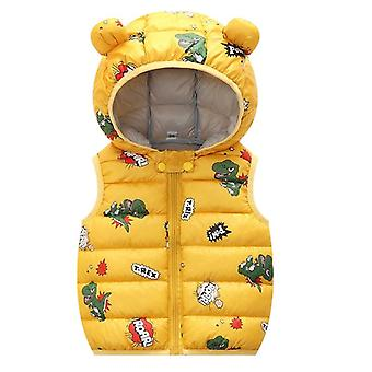 Children Boys And Girls Cotton Vest-3 Velvet Cotton Coat Bright Hooded Sleeveless Jacket
