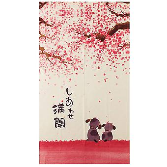 Happy Dogs Cherry Blossom Japanese Style Doorway Curtain