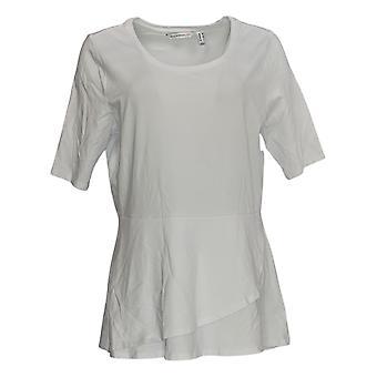 Isaac Mizrahi Live! Women's Top Peplum High-Low Hemline White A303962