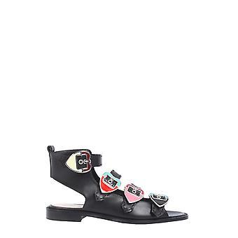 Paula Cademartori Swp035pr516t8013 Women's Black Leather Sandals