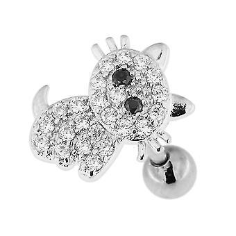 Micro Réglage CZ Stone Lovely Cat Design Surgical Steel Cartilage Helix Tragus Piercing Bijoux
