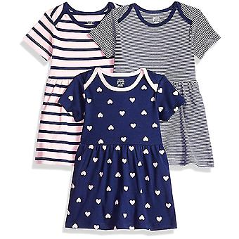 Essentials Baby 3-Pack mekko, Tyttö Sydän, 24M