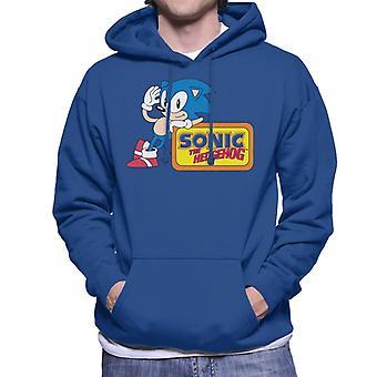Sonic The Hedgehog Leaning On Logo Men's Hooded Sweatshirt