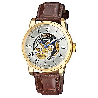 Gevril Men's Vanderbilt Silver Dial Calfskin Leather Watch