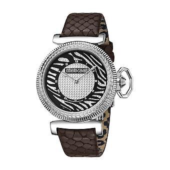 Roberto Cavalli: Womens silver ratten brunt läder klocka