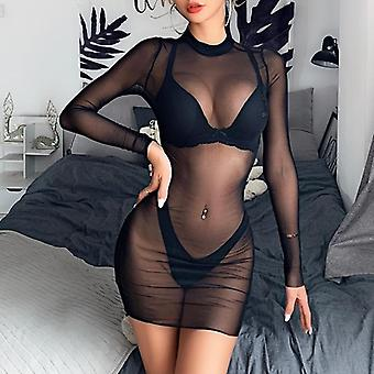 Women Mesh Sheer Bikini Cover Up Sexy See Through Swimwear Bathing Suit