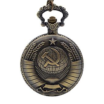 Vintage Pocket Ussr Soviet Badges Sickle Bronze Fob Watch