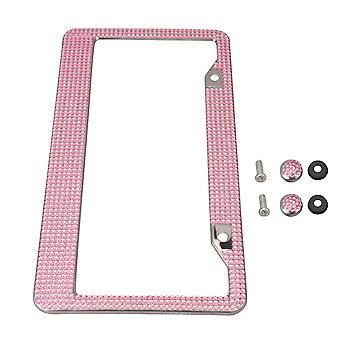 Car License Plate Frame Pink Metal License Plate Frame Tag Cover Crystal