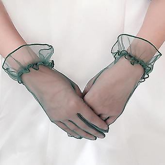 Women Short Tulle Gloves Stretchy Lace Nylon Lotus Leaf Sheers Flexible Dress,