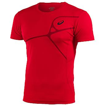 Asics Elite Mens T-Shirt Training Gym Running Top Rouge 129863 6015