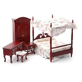 Dolls House Mahogany Viktoriaaninen makuuhuone huonekalut setti katos 4 juliste sänky
