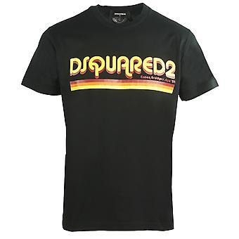 Dsquared2 كول صالح ديسكو الخط شعار العلامة التجارية الأسود تي شيرت