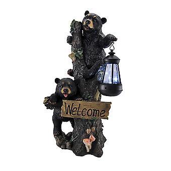 Rasselbande Klettern Bear Cubs Solarleuchte willkommen Statue