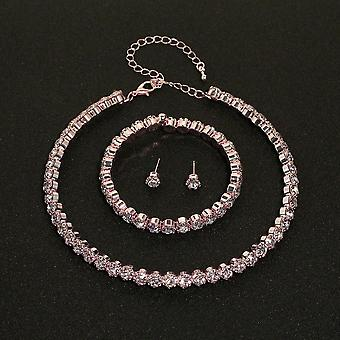 Circle Crystal Svatební náhrdelník / náramek / náušnice Set