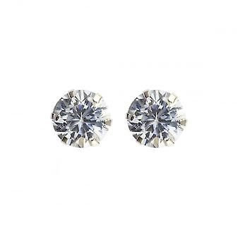Eternity 9ct White Gold 5mm Round Cubic Zirconia Stud Earrings