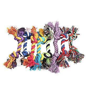 Puuvilla pureskelusolmu, punottu luuköysi, molaarinen hampaiden puhdistus lelu (satunnainen väri