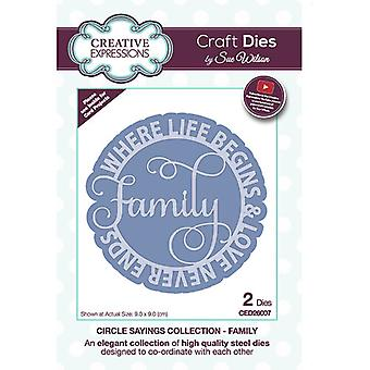 Creative Expressions Circle Sayings Collection Cutting Dies - Family