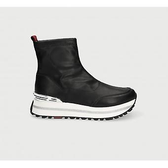 Women's Shoes Sneaker Sock Running Liu-jo Wonder Maxi In Ecopelle Stretch Black D21lj06