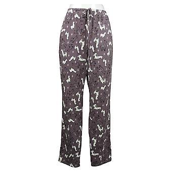 Nogen Kvinder 's Trykte Pyjamas Bukser Tie Linning Purple A387702
