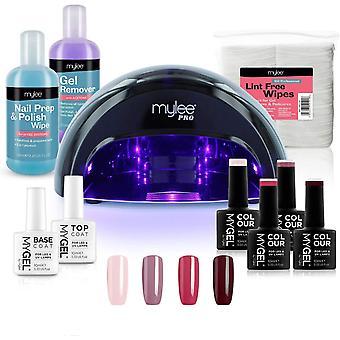 Mylee Complete Professional Gel Nail Polish LED Lamp Kit, 4x MYGEL Colours, Top   Base Coat