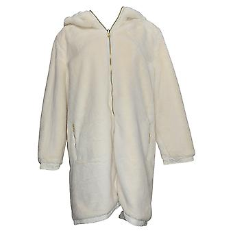 """Antthony Women's """"Holiday Luxe"""" Reversible Hooded Coat Ivory 726496"""