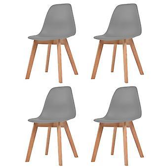 Dining Chairs 4 Pcs Grey Plastic