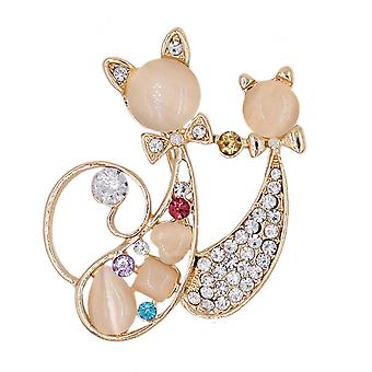 Retro Girl Brooch Two Cats Corsage Diamond Inlaid Scarf Clip Jewelry Brooch Pin