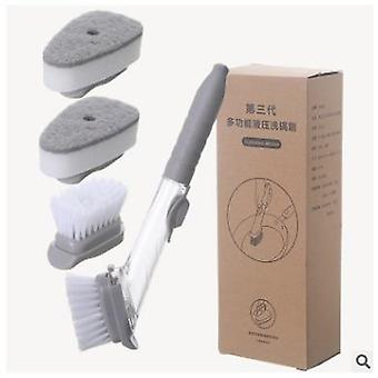 Scandinavian style kitchen washing brush with inbuilt liquid detergent dispenser  with 2 free replacement head sponges and brushes.