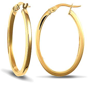 Jewelco London Ladies 9ct Yellow Gold Square Tube Oval 2mm Hoop Brincos