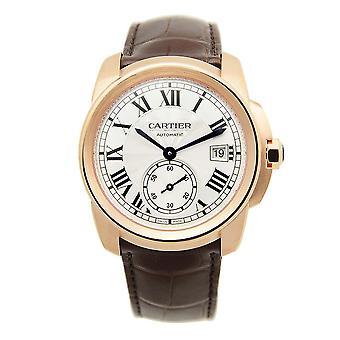 Cartier Caliber Silver Dial 18k Pink Gold Men's Watch WGCA0003