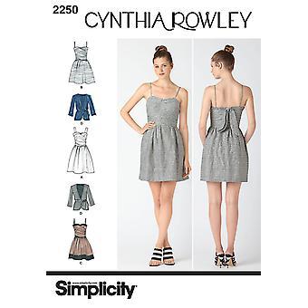 תבנית תפירה פשטות 2250 מתגעגע שמלה 2 אורכים חגורת ז'קט גדלים 6-14