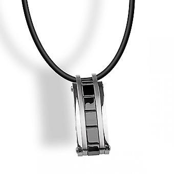 Colar e pingente catraca P430380 - cabo de aço meu pingente de cerâmica preto