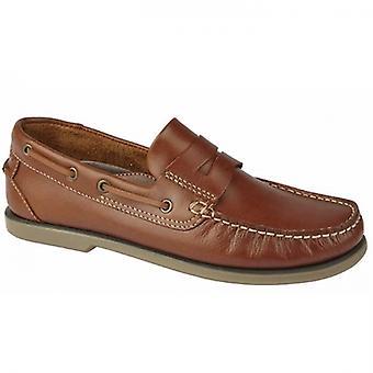 DEK Harbour Mens Leather Moccasin Boat Shoes Golden Tan