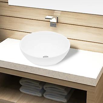 vidaXL Umywalka ceramiczna biała okrągła