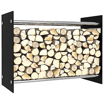 vidaXL firewood shelf Black 80 x 35 x 60 cm glass