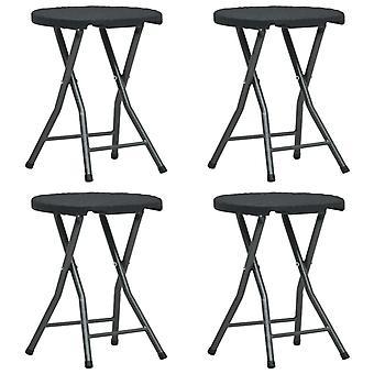 vidaXL Складной садовый стул 4 шт. Черный HDPE Ротанг Оптика