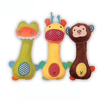 3pcs Deer Monkey Duck Shaking Rattle Stick Colorful Baby Hand Grab