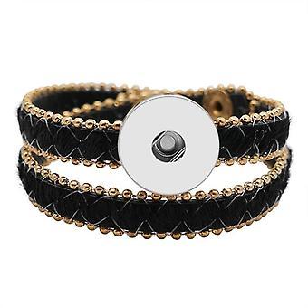 Leopard/black Horse Hair Style Multi-layer Bracelets, Snap Bangle, Button