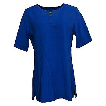 Denim & Co. Women's Top Essentials Perfect Jersey V-Neck Blue A365292
