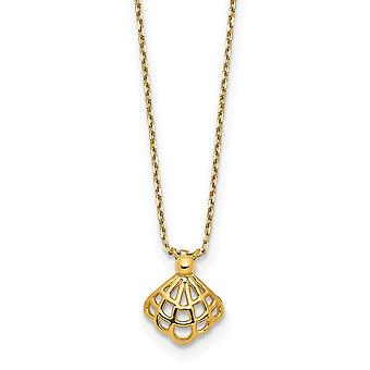 14k Yellow Gold Polished Seashell With 1.25 In Ext Necklace 15 Inch - 1.1 Grams
