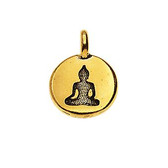 TierraCast Tin charme, ronde Boeddha silhouet 16,5x11,5 mm, 1 stuk, 22K verguld