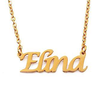 """L Elina - 18 Karat vergoldet Halskette, mit anpassbarem Namen, 16""""- 19 verstellbare Kette"""