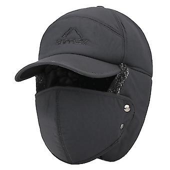 Šedá zimná kožušina teplá vetru čiapka muži ženy bombardér faux kožušina ucha klapka čiapka x2341