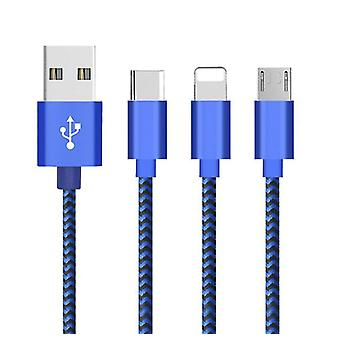 2Pcs android black 1m charging cable single head fast charging data cable suitable for type-c/iphone/android az17280