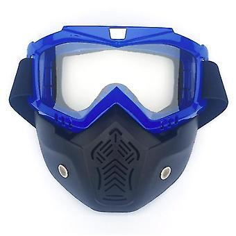 Yksikokoinen läpinäkyvä moottoripyöräkypärä ajolasit lasit irrotettava kasvonaamio x5629
