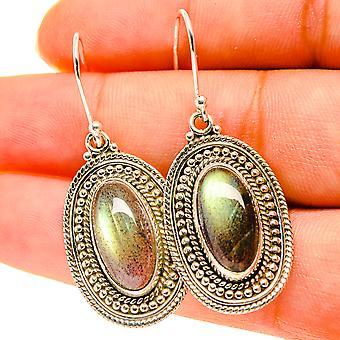 """Labradorite Earrings 1 5/8"""" (925 Sterling Silver)  - Handmade Boho Vintage Jewelry EARR417124"""